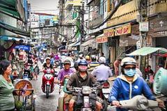 Via tipica della città del ` s di Ho Chi Minh Fotografie Stock Libere da Diritti