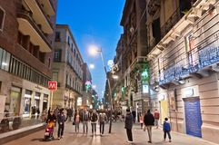 Via Toledo street view in Naples, Italy Stock Photos