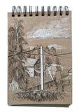 via Toronto della casa di campagna del Canada Paesaggio rurale Penl in bianco e nero che assorbe sketchbook royalty illustrazione gratis