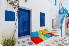 Via tradizionale dell'isola di Mykonos in Grecia Fotografie Stock Libere da Diritti
