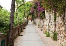 Via Tragara, de beroemde straat van Capri Stock Foto