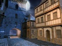 Via in una città medievale Immagine Stock
