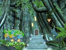 Via in una foresta magica Fotografia Stock Libera da Diritti