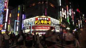Via urbana di intervallo di notte alla citt? di affari in via urbana di lasso di tempo di TokyoNight alla citt? di affari a Tokyo archivi video