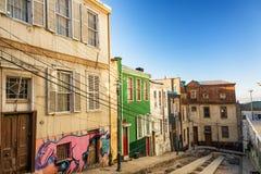 Via in Valparaiso, Cile Fotografia Stock