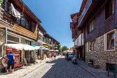 Via in vecchia città di Nessebar, regione di Burgas, Bulgaria Immagine Stock Libera da Diritti
