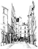 Via vicino a Montmartre a Parigi Immagine Stock Libera da Diritti