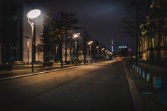 Via vuota lunga della città alla notte Fotografia Stock Libera da Diritti