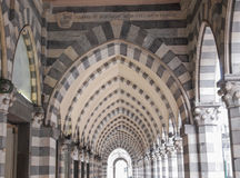 Via XX Settembre colonnade in Genoa Stock Photo