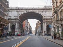 Via XX Settembre-colonnade in Genua Royalty-vrije Stock Foto