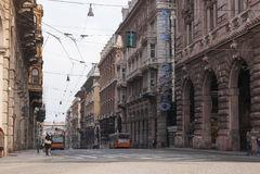 Via XX Settembre-colonnade in Genua Royalty-vrije Stock Afbeelding