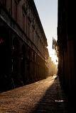 Via Zamboni in University district of Bologna. At warm autumn afternoon, Italy Royalty Free Stock Photo