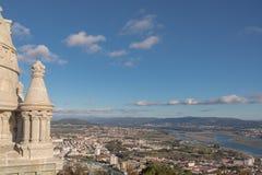 Viaa fa la vista di Castelo dal santuario di Santa Luzia fotografia stock
