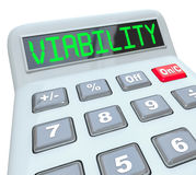 Viability Calculator Budget Finance Plan Successful Business Mod. Viability word on a calculator to illustrate a business model, finance plan or budget that Royalty Free Stock Photo