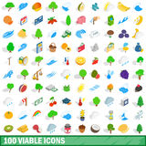 100 viable icons set, isometric 3d style Royalty Free Stock Photo