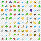 100 viable icons set, isometric 3d style Stock Image
