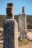 VIACRUCIS. Crosses of Catholic ritual of Viacrucis on a path Royalty Free Stock Photo