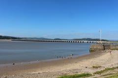 Viadotto di Arnside, pilastro di Arnside, fiume Kent Estuary Immagine Stock Libera da Diritti