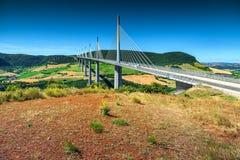 Viadotto famoso di Spectacular regione di Millau, Aveyron, Francia, Europa Immagini Stock