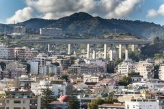 The Viadotto Trapani motorway bridge above Messina Sicily. Messina is a harbor city in northeast Sicily, separated from mainland Italy by the Strait of Messina royalty free stock images