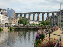 Viaduc bei Morlaix, Bretagne, Frankreich Lizenzfreies Stockfoto