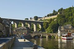 The Viaduc de Lanvallay, Dinan, France. Old viaduct connects Dinan with Lanvallay Stock Image