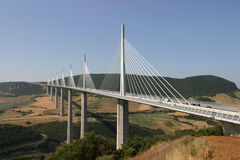 Viaduc de Millau. Crossing the Tarn Valley in the Larzac region of France. One of the world's highest bridges, and the longest cable-stayed bridge in the world stock image