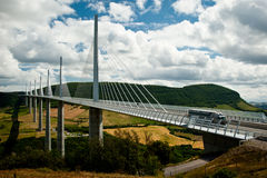 Viaduc de Millau. Truck Crossing the Stunning Millau Viaduct Over the Tarn River Gorge, Millau, France Royalty Free Stock Photos