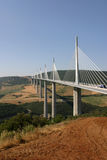 Viaduc de Millau. Crossing the Tarn Valley in the Larzac region of France. One of the world's highest bridges, and the longest cable-stayed bridge in the world royalty free stock photography