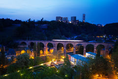 Viaduc (Passerelle) view at night in Luxembourg. Viaduc (Passerelle) beautiful view at night with lantern lights in Luxembourg Stock Photos