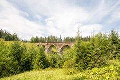 viaduct Старые действующие viaductCarpathians солнечная погода Горы Сочная природа стоковые изображения