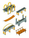 Viaduct bridge isometric. Wood support crossing river or highway logging industry vector urban landscape. 3d bridge and viaduct isometric, 3d building stock illustration