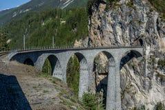 Viaduct bridge near Filisur on the Swiss Alps - 1 Stock Image