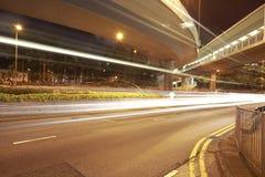 Viaduct car light trails night Stock Photos