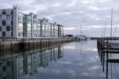 Viaduct Dawn. Apartments on Viaduct basin Auckland at Dawn royalty free stock image