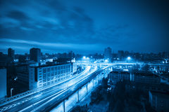 Viaduct at dawn with blue tone Royalty Free Stock Photo