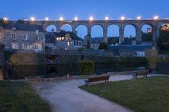 Viaduct at Dinan, Brittany, France at night Royalty Free Stock Images