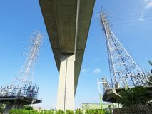 Viaduct and electric towers Stock Image