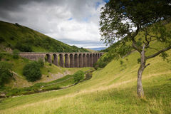 Viaduct in English Countryside on Cloudy Day Stock Images