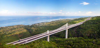 Viaduct Grande Ravine overpass. Panoramic view of the Grand Ravine Viaduct, which is a single-span bridge and part of the Route de Tamarins Road Development on Royalty Free Stock Photos