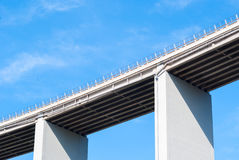 A viaduct on an italian highway. Detail of a viaduct on an italian highway near Recco (north of Italy Royalty Free Stock Image