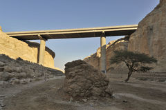 Viaduct in Judea desert. Stock Photo