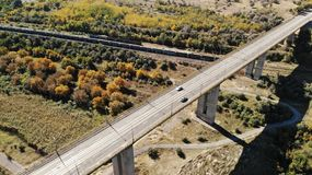 Viaduct - 300m height Galati Romania. Created by dji Mavic Air Road overview - Viaduct - 300m height Galati Romania Transportation royalty free stock photos