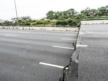 Viaduct of Marginal Pinheiros expressway. Near Villa-Lobos Park and Jaguare Bridge, in Sao Paulo, yielded about 2 meters, causing blocking of the runway royalty free stock photography
