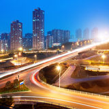 Viaduct Night. Highway with heavy traffic, Shenzhen night Stock Images