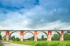 Viaduct in Nirkendorf. Front view of the viaduct in Nirkendorf with six arches Royalty Free Stock Image