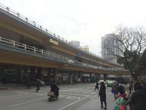 Viaduct outside. Nanchang streets, intersections, continuous flow of people and vehicles, January 14, 2018 stock photos