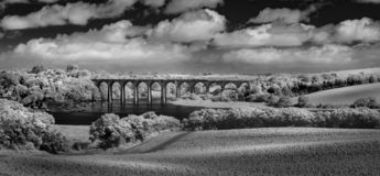 Viaduct over the River Tiddy, St Germans, Cornwall. Photographed in balck and white infrared stock image