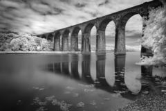 Viaduct Reflections, St Germans, Cornwall, UK. Captured in black and white infrared royalty free stock photos