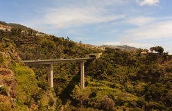Viaduct. Road to the tunnel. Madeira. Stock Images
